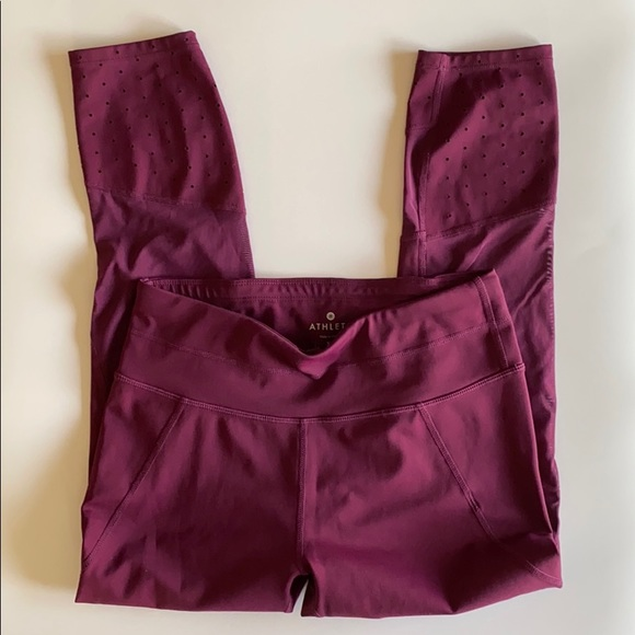 Athleta plum crops Extra small mesh sides